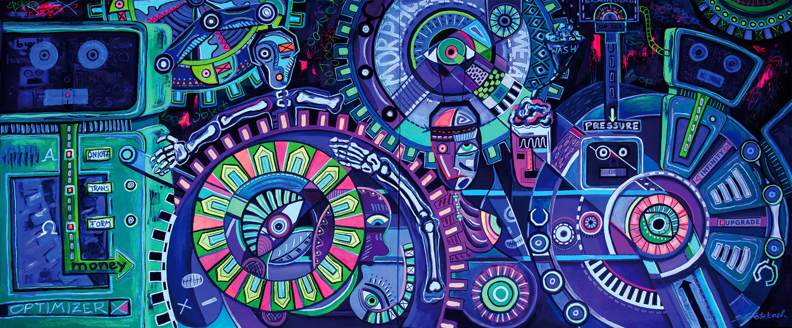 Grötzbach, sabine grötzbach, groetzbach, sgroetzbach, UV, Blacklight, Blacklight-art, Blacklightart, ultraviolett, ultra violett, ultra-violett, uv-kunst, moderne kunst, modern art, expressionismus, 76356 Weingarten, 76356, Karlsruhe, Kunst, Kunst Karlsruhe, Ausstellung, Art, System